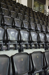 Picture of Empty seats of sports arena.