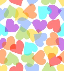 Seamless background with hearts in pastel colors