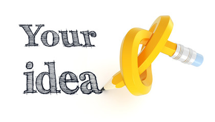 Your idea phrase with knotted yellow pencil illustration