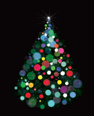 Vector abstract Christmas tree on black background.