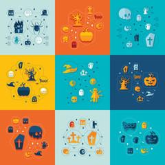Halloween flat infographics