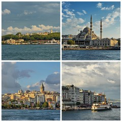 Topkapi Palace-New Mosque-Galata Tower-Karakoy Seaport Collage