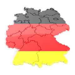 3D map of germany in tricolor
