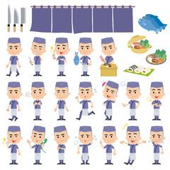 料理職人紺色全身動作