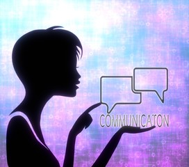 attactive girl silhouette with communication