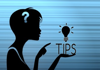 stylish woman silhouette with tip
