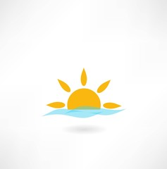 sun with sea wave icon