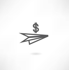 paper airplane icon dollar icon