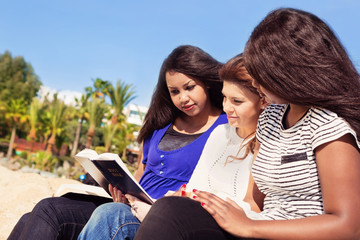 Friends Reading Bible on the Beach