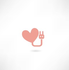 heart with electronic fork icon