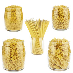 Pasta in a transparent jar
