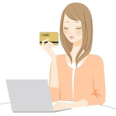 PC操作 カードを持つ困る女性