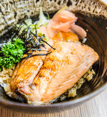 Salmon teriyaki on rice