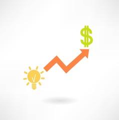 graph idea and dollar icon