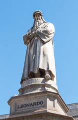 The statue of Leonardo Da Vinci in Scala piazza Milan, Italy.