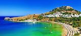 Fototapety scenic Rhodes island, Lindos bay. Greece