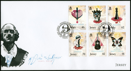 JERSEY - 2014: shows set of six stamps plays of Shakespeare