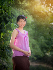 Thai girl dressing with traditional style