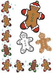 Ginger bread men border and ornaments