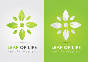 Leaf of life. A modern icon symbol of life by leaf.