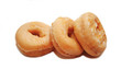 Three Glazed Doughnuts Isolated on a White Background