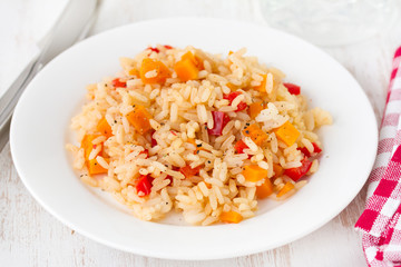 rice with vegetables on white plate
