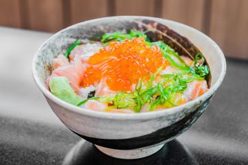 Salmon salad japanese food