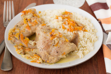 rabbit with rice on plate