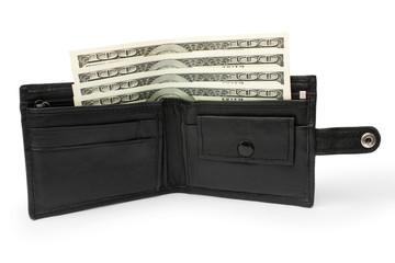 money in an open black leather purse