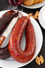 chorizo on white dish