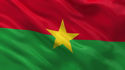 Flag of Burkina Faso waving in the wind - seamless loop
