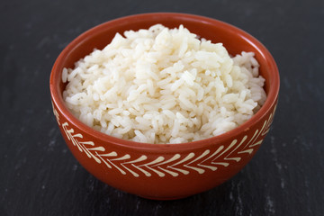 boiled rice in ceramic bowl
