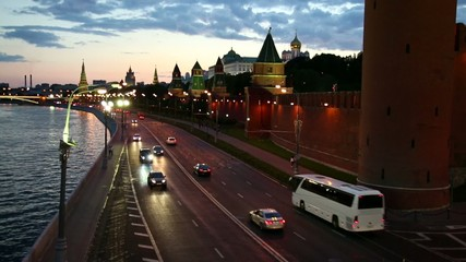 View On Kremlin Wall And Towers At A Sunset, moscow