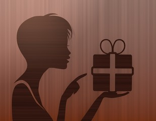 noble woman silhouette with present