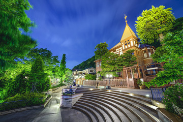 Kobe, Japan Foreigners Homes in Kitano District at Night