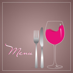 design for menu with cutlery and glass filled with red wine