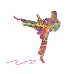 astratto che compone un uomo che pratica il karate