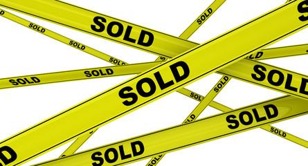 Продано (sold). Желтая оградительная лента