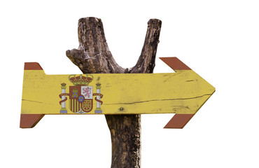 Spain wooden sign isolated on white background
