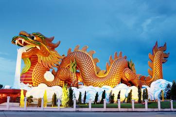 Big dragon statue at night, Supanburi Thailand