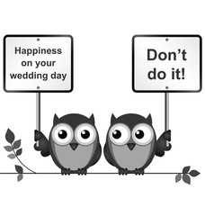Monochrome comical happy wedding day