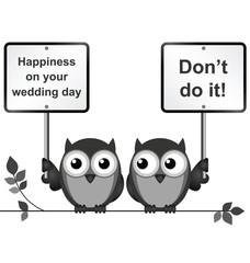 Monochrome comical happy wedding day