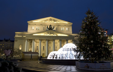 Big theatre in Christmas, Moscow