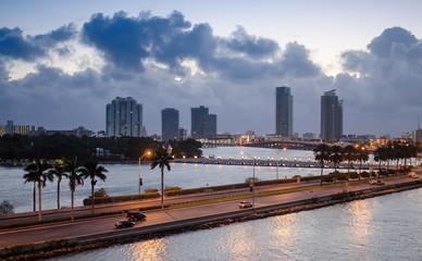 Skyline of Miami on a beautiful dawn