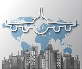 Illustration of airplane with city skyline on world map