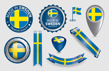Made in Sweden Seals, Swedish Flag (Vector Art)