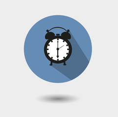 Vector flat  icon of an old alarm clock with shadow