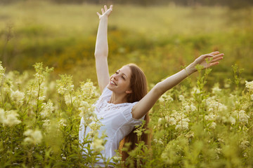 Happy woman in a state of rapture