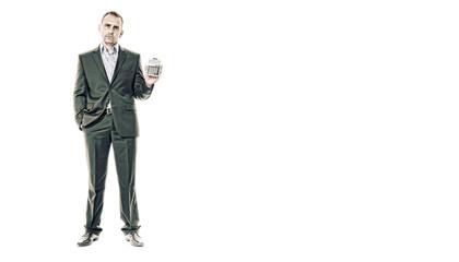 mann im anzug mit taschenrechner