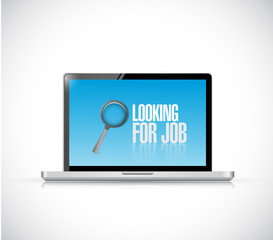 computer looking for a job sign illustration